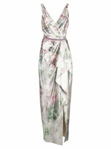 Marchesa Notte shiny floral print draped gown - SILVER