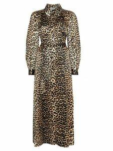 GANNI leopard print tie-waist maxi dress - Brown