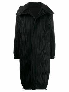 Pleats Please Issey Miyake micro-pleated hooded coat - Black