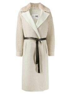 Manzoni 24 belted knitted-sleeves cardi-coat - NEUTRALS