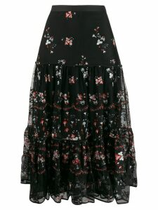 Tory Burch embroidered floral print ruffled skirt - Black