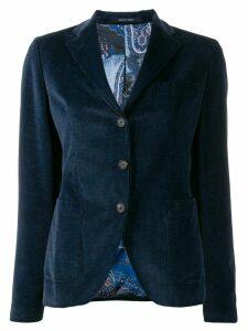 Tagliatore ribbed single breasted blazer - Blue