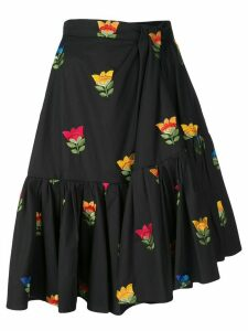 Carolina Herrera floral embroidered gathered skirt - Black