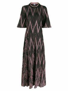 M Missoni glitter effect zig-zag pattern dress - PINK