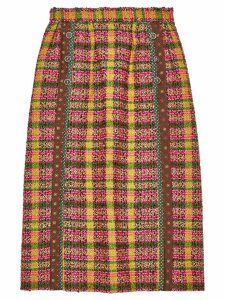 Gucci check print tweed skirt - Yellow