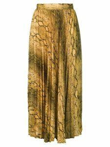 Andamane snakeskin print pleated midi skirt - Yellow