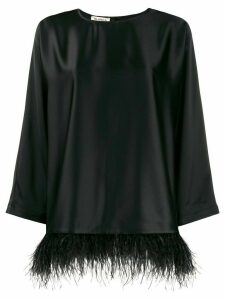Blanca feather-hem satin top - Black