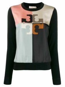Tory Burch colour block logo jumper - Black