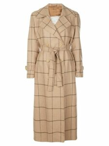 Giuliva Heritage Collection Window Pane check trench coat - NEUTRALS