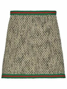 Gucci tweed Web stripe skirt - Black