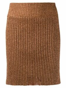 Alberta Ferretti metallic ribbed skirt - Brown