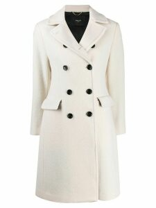Paltò colour block double breasted coat - White