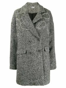 LIU JO herringbone double-breasted coat - Grey