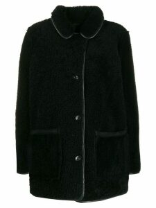YMC midi shearling coat - Black