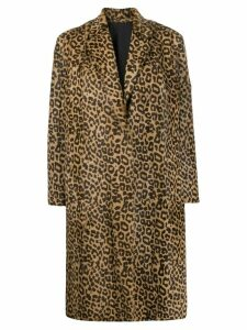 Salvatore Santoro leopard print coat - Brown