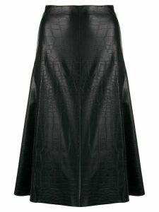 Blanca crocodile-effect A-line skirt - Black