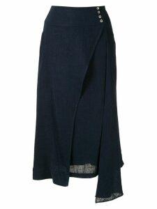 Olympiah Ylang asymmetric midi skirt - Blue