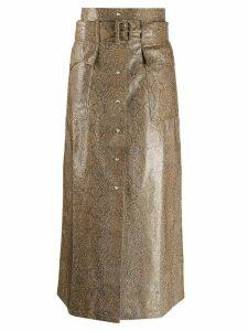 Nanushka snakeskin effect belted skirt - Brown