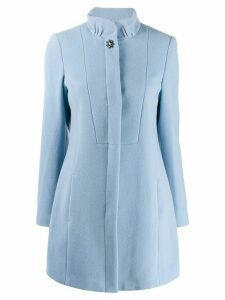 LIU JO ruffled neck single-breasted coat - Blue