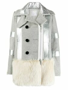 Sacai faux fur trimmed wool coat - Grey