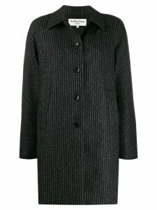 YMC striped single breasted coat - Black