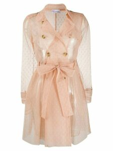 Red Valentino point d'Esprit tulle trench coat - NEUTRALS