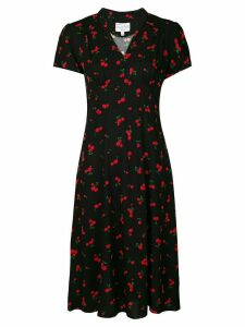 HVN Morgan cherry-print dress - Black