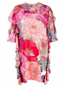 Valentino floral print ruffled dress - PINK