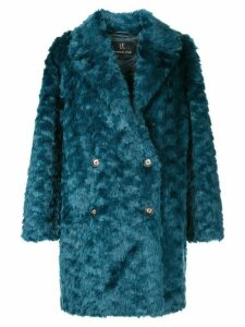 Unreal Fur textured double-breasted coat - Blue