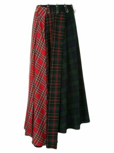 A.W.A.K.E. Mode patchwork kilt pin midi skirt - Multicolour