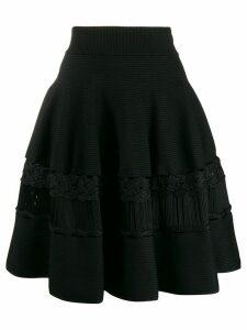 Alexander McQueen crochet panels a-line skirt - Black