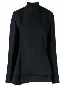 Jil Sander short asymmetric coat - Black