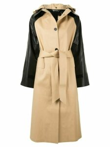 Kassl Editions contrasting sleeve trench coat - Brown