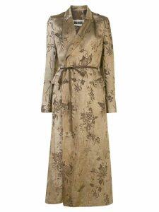 Uma Wang long floral jacquard coat - Brown