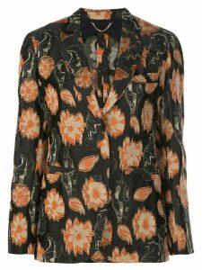 Salvatore Ferragamo floral fil coupé blazer - Black