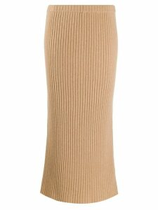 Allude ribbed-knit cashmere skirt - Brown