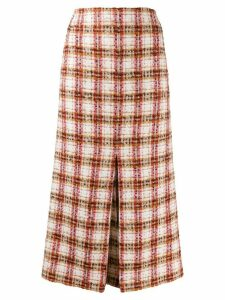 Victoria Beckham fitted tweed midi skirt - Red