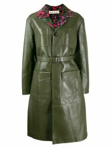 Marni belted leather trench coat - Green