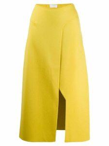 Esteban Cortazar knitted side slit skirt - Yellow