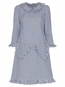 Batsheva heart pocket gingham print dress - Blue