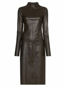 Bottega Veneta turtleneck midi dress - Brown