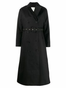 Mackintosh MONTROSE Black Bonded Wool & Mohair Long Trench Coat