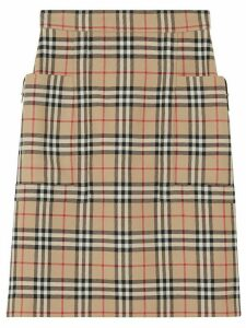 Burberry pocket detail vintage check pencil skirt - Brown