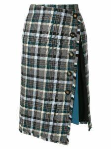Loveless check asymmetric skirt - Blue