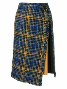 Loveless asymmetric check skirt - Blue