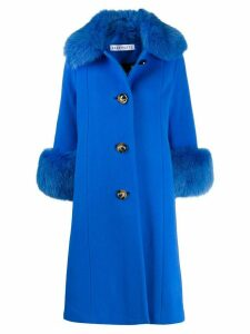 Saks Potts Yvonne fur-trimmed coat - Blue