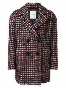 Loveless double-breasted checkered coat