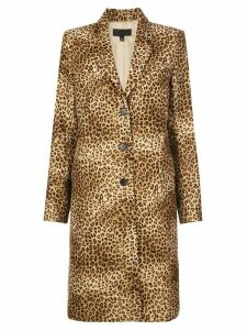 Nili Lotan leopard print single breasted coat - Brown