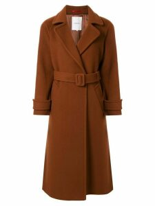 Loveless single-breasted belted coat - Brown