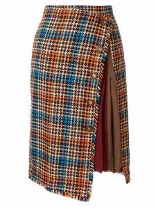 Loveless asymmetric check skirt - Multicolour